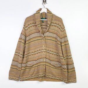 Lauren Ralph Lauren Button Down Tan Sweater 3X